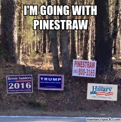 "Photo of campaign signs for Sanders, Trump and Clinton next to a sign advertising, pinestraw. The photo is caption,ed, ""I'M WITH PINESTRAW."""